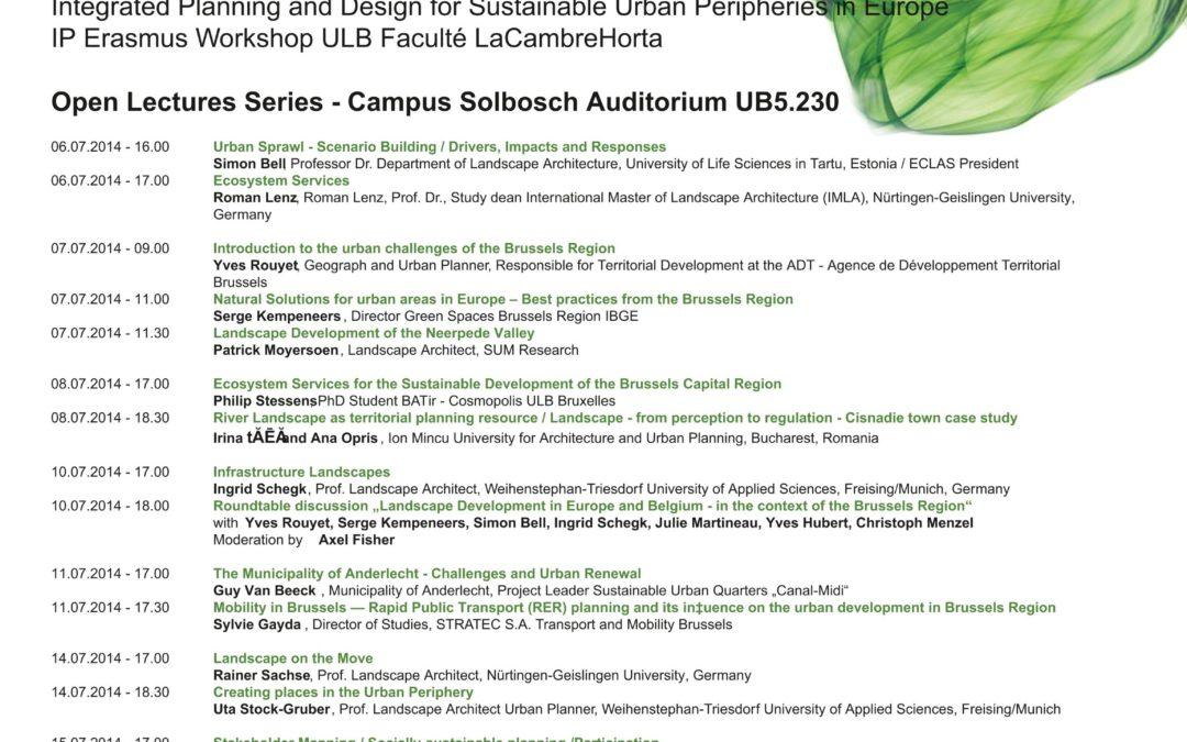URBAN PERIPHERIES : Conférences Erasmus Workshop La Cambre Horta